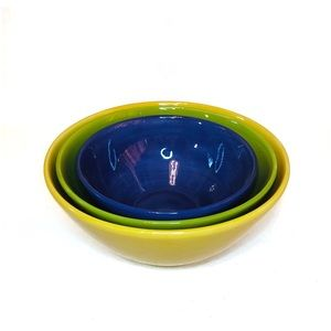Pottery Barn Colorful Serve Ceramic Bowls Set of 3